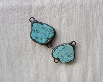 Hand Soldered Turquoise Connector