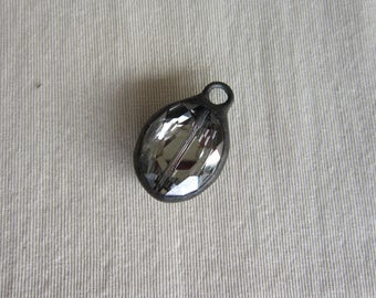 Hand Soldered Medium Silvery Black Oval Crystal Pendant