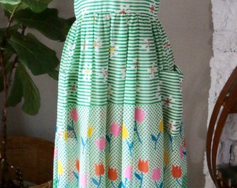 Vintage 1950's Miss Elliette Green Striped and Floral maxi dress, Vintage Maxi Dress, Summer Dress
