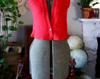 Vintage Red Wool BOBBI BROOKS Vest, Small/Medium Sleeveless Knit, 3 Button