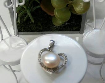 Cultured Pearl & White Topaz Sterling Silver Pendant