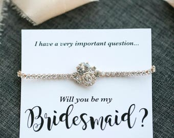 Gold tone bridesmaid bracelet - Will you be my Bridesmaid - Thank you for being my bridesmaid