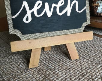 Rustic chalkboard table sign - wedding decor, table decor, wedding table number