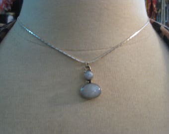 Sterling silver opal necklace 18 inch chain