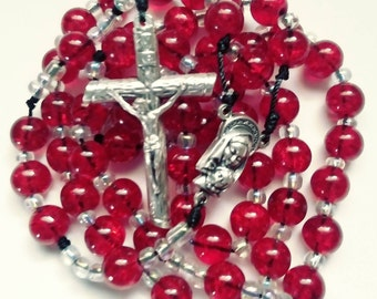 catholic rosary,rosaries,confirmation,first communion,red rosary,roman catholic rosary,rosaries,rosaries made with cord