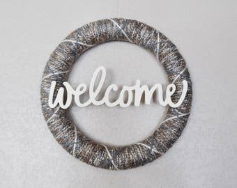 Welcome Wreath, Neutral Welcome Wreath, Everyday Wreath, Neutral Farmhouse Decor, Farmhouse Wreath, Beige and Gray Wreath Decor, Wall Decor