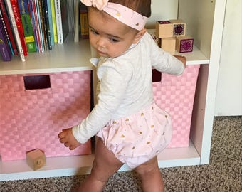 Adorable Baby Girl Bow & Booty Shorts Matching Set (Diaper Cover) Handmade