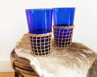 Pair Vintage cobalt blue glasses - wine glass - boho bohemian eclectic jungalow style decor home - drinking glass - woven cane #0146