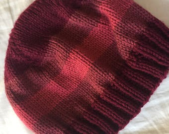 Shades of Red Striped Knit Beanie