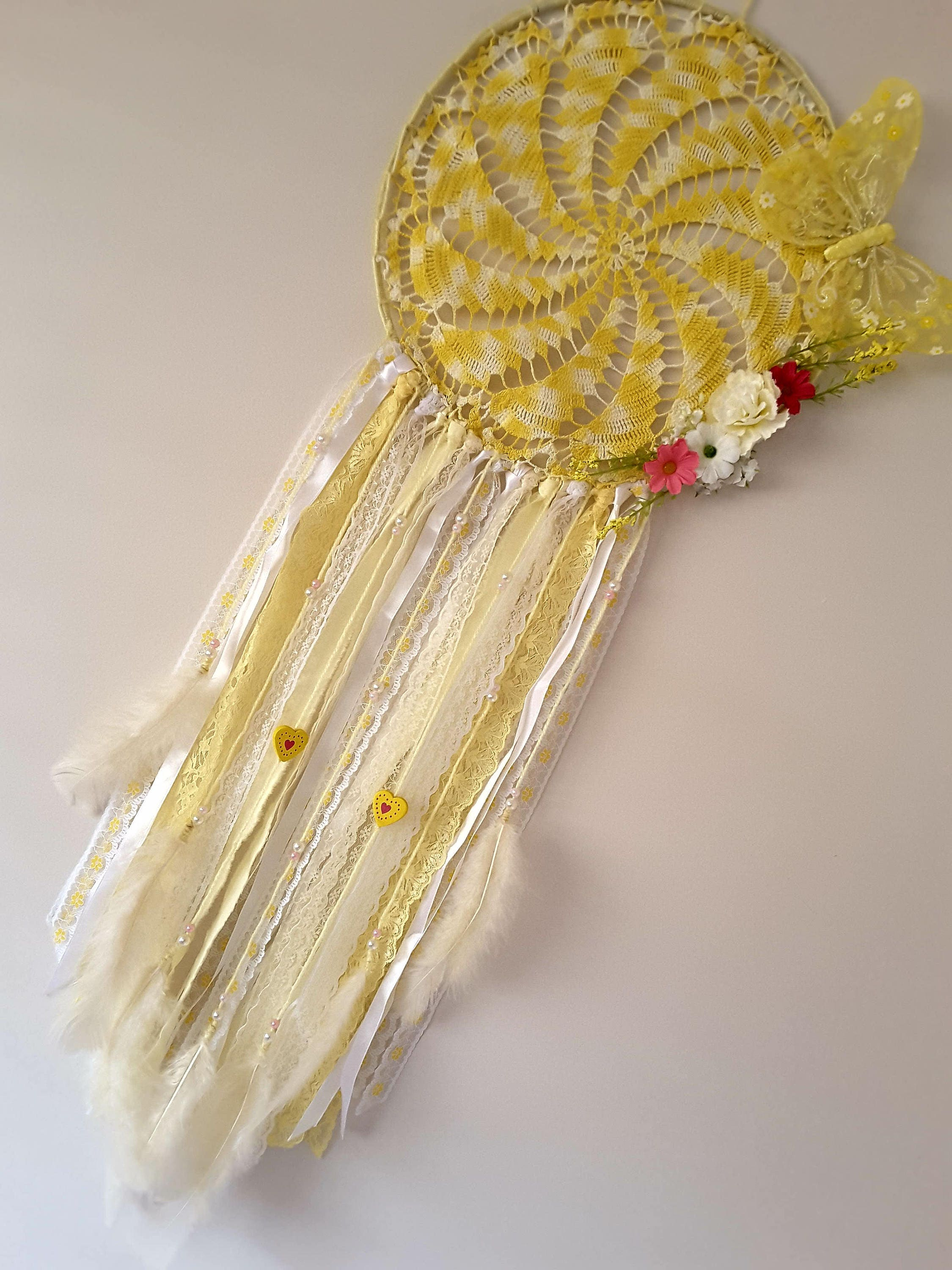 RETRO DREAMCATCHER. 30cm/80cm Yellow. Doily dream catcher. Vintage ...