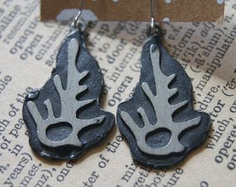 Skeleton leaf earrings