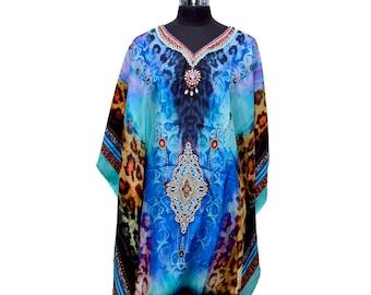 New 100% Silk caftan full length embellished beach cover up dress K23