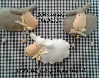 Sheep mobile Brown/ivory of felt-Handicraft package