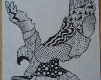 Eagle Zentangle Print