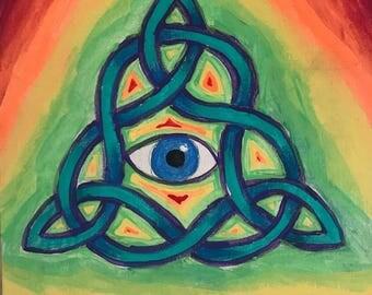 "Ocular Trinity - Original Painting - 8""x8"" Acrylic on Canvas Board"