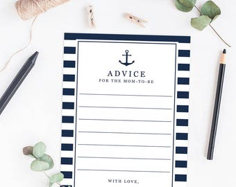 Baby Shower Advice Cards Advice for Mommy to be Nautical Baby Shower Advice Baby Shower Games Printable Advice for Parents to be Download