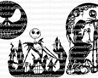 Jack & Sally Skellington Nightmare Before Christmas 3 Pack digital file, svg, cdr, eps, png