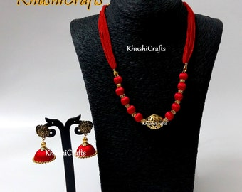 Chili Red Silk Thread Necklace with Jhumkas