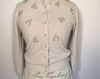 Vintage 50s Beige Cardigan Sweater Light Beige Cardigan Lindy Hop Old Hollywood Sz S