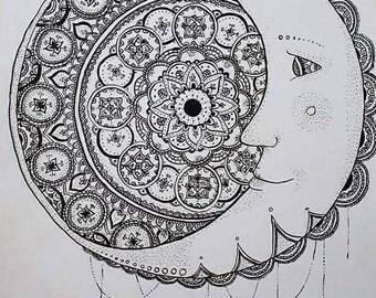 Moon mandela print
