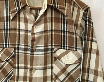 70's M Brown/Black/Beige Sears Perma-Prest Long Sleeve Flannel Shirt