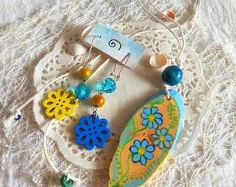 Folk art necklace boho Ethnic wood сharm Earrings Blue hand painted Pendant colorful artisan wood Whimsical jewelry eco friendly gift sister