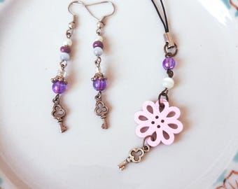 Purple white pink charm key Earrings zipper Keychain Princess flowers keys set for a young girl Cute gift for sister valentine's day gift