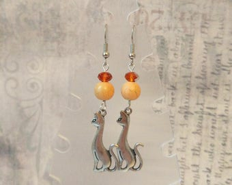 Orange beige silver cat earrings Orange crystal cat meow earring cute animal design pur witches cat boho woman orange cat charm jewelry gift