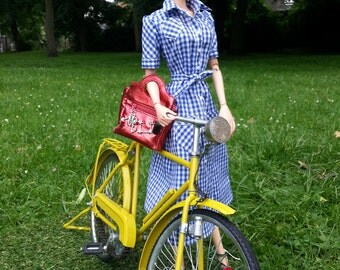 Gingham dress for 16 inch fashion dolls,Sybarite Superdoll,FR16,Poppy Parker Fashion Teen,Numina,Tonner Cami/Antoinette