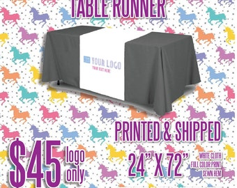 LLR Table Runner - White w/Full Color Logo *Optional Solid Color Table Cover Add-on