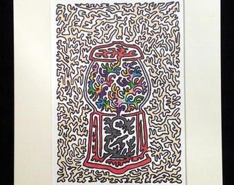 Penny Gumball Machine - Original Artwork, Multi-Color