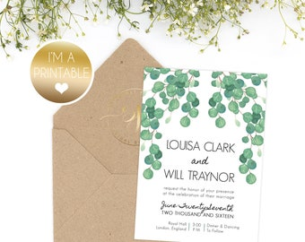 Greenery Elegant Wedding Invitation - RSVP - Modern Wedding - Summer Wedding - Printable - At Home - DIY Invitation - Laurel Wreath