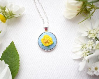 Yellow rose pendant etsy hand embroidered yellow rose pendant mini pendant rose necklace yellow rose necklace mozeypictures Images