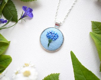 Hand Embroidered Cornflower Pendant, Bachelor's Buttons Necklace, Floral Embroidery, Cornflower Blue Necklace, Summer Garden, Blue Flower