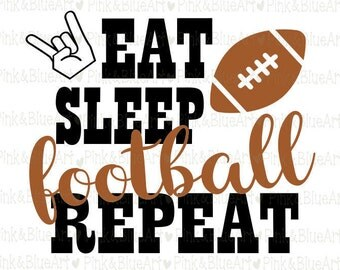 Eat Sleep Football Repeat SVG Clipart Cut Files Silhouette Cameo Svg for Cricut and Vinyl File cutting Digital cuts file DXF Png Pdf Eps