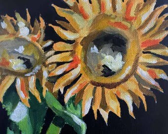 "Summer Sunflowers - Acrylic Painting 6"" x 6"""