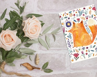 Blank Greeting Card, Blank Cards with Envelopes - Cute Fox Card Birthday Card for Her - Birthday Card Wife - Mothers Day Card - Notecard