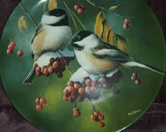 "Edwin M. Knowls "" The Chickadee"" , Birds of Your Garden Collection. Artist Kevin Daniel, Collector plate,Made in USA"