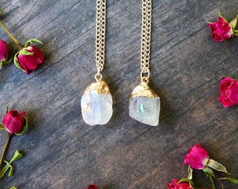 Pretty Angel Aura Quartz Nugget Crystal Gold dipped Necklace, Gold Chain, Boho Jewelry