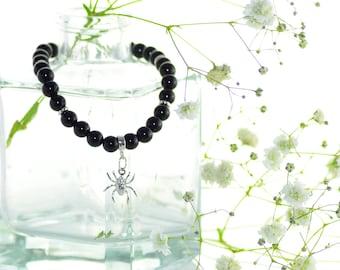 Black Onyx Braccelet with Sterling Silver Spider Charm, Black Stone Bracelet, Onyx Bracelet, Sterling Silver 925 Bracelet