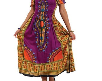 African dashiki dress, one size , elastic bust, purple