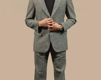 Vintage Men's Suit / 2-piece Wedding Groom Grey Wool Suit / Pants size 31-32, Jacket size 40-42