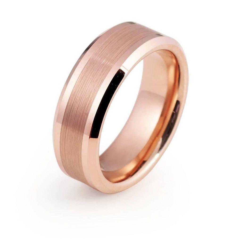 Rose Gold Wedding Band Mens Wedding Band Ring 8mm Man Rose Gold ...