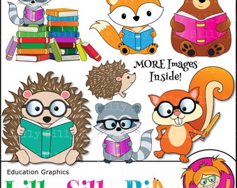 Animal Clipart - Woodland/ forest funny animal graphics, Animals reading and learning, Commercial use clipart, squirrel, raccoon, hedgehog.