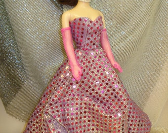 BARBIE Doll Clothes~OOAK~Handmade~Retro~50's~Strapless Sequined Gown~SWEETHEART Neckline~Attached Slip~Transparent Long Gloves~3 Pieces~