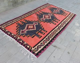 5.3 x 9.5 Lovely Pink Kilim Rug, Boho Vintage Area Rug, Handmade Turkish Rug, Area Rugs 6x9, Beautiful Vintage Rug