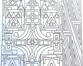 Cuboid, Adult Coloring Page, Intricate Design, Geometric Repeating Patterns, Symmetrical design,Instant Download, Grownup coloring