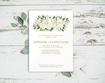 Floral Bridal Shower Invitation, Bridal Shower Invitation Template, Gold Bridal Shower Invitation, Rustic Bridal Shower, Printable, 6063