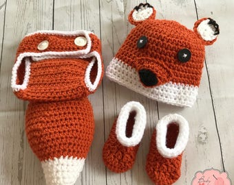 Fox Animal Infant Newborn Baby Outfit Beanie Hat Booties Shoes Diaper Cover Tail Crochet Photography Photo Prop
