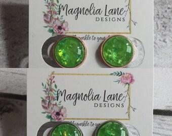 12mm Lime Opal Earrings